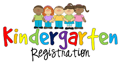 Picture of kids with the words Kindergarten Registration