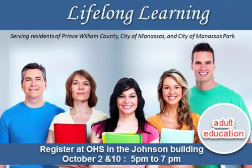 Register for Adult Education at OHS in the Johnson Building 10/2 and 10/10 from 5pm to 7pm