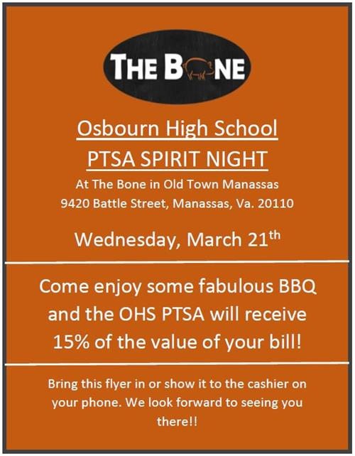 The Bone OHS PTSA Spirit Night Wednesday March 21st Come and enjoy some fabulous BB! and the OHS PTSA will receive 15%